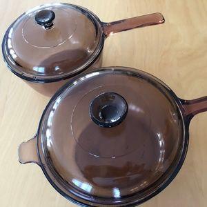 Corning Vintage Vision Pots sauce - amber glass